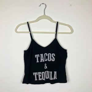 Tops - Tacos & Tequila Black Crop Top